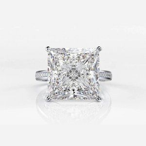 *NEW💎925 Sterling Silver Diamond Halo Square Ring